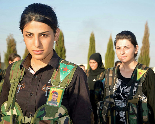 Fighters from the Women's Protection Units (YPJ).