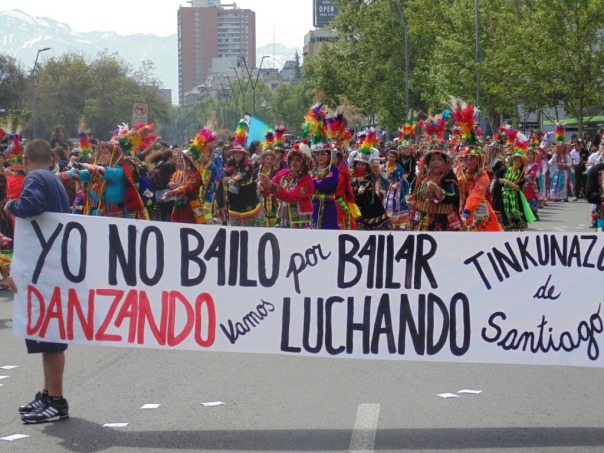 Mapuches march in Santiago, Chile, against Columbus Day celebrations.