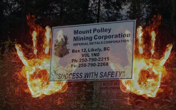 Mount Polley sign fire