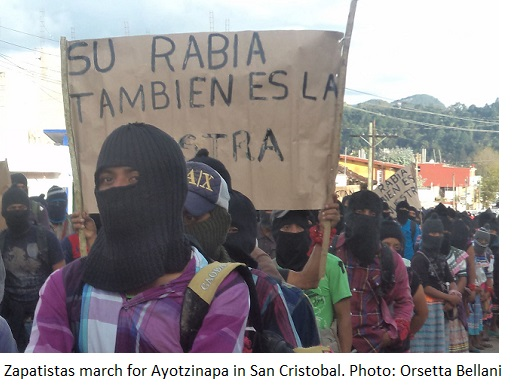 Zapatistas rally in San Cristobal, Chiapas, for the students disappeared in Ayotzinapa, October 2014.
