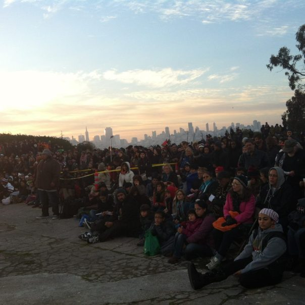 American Indians gather on Alcatraz Island at Indigenous Peoples Sunrise Ceremony on Thursday, November 27, 2014. Native News Online photo by Arthur Jacobs.