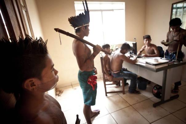 Munduruku warriors inside the FUNAI offices they occupied, Nov 28, 2014.