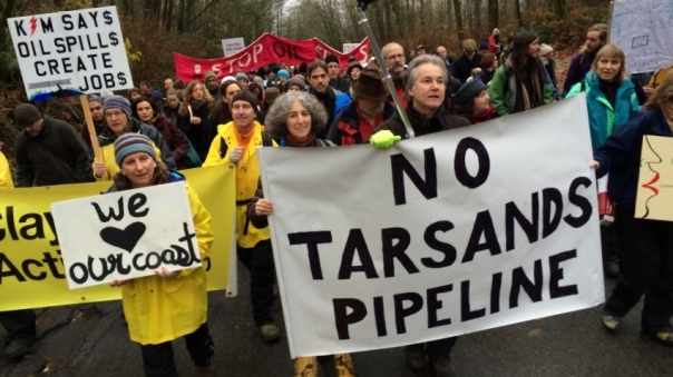 Protesters march up Burnaby Mountain, Nov 25, 2014.