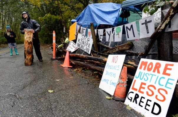 Anti-pipeline protesters erected a shelter this week along Centennial Way on Burnaby Mountain. The protesters are hoping to block Kinder Morgan from resuming surveying work in the conservation area.