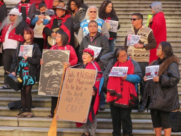 Members of the Nisga'a nation in Vancouver protest signing of deal with natural gas project.