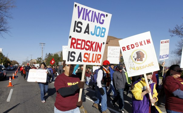 As many as 5,000 marched against the Washington Redskins name in Minneapolis, Nov 1, 2014.