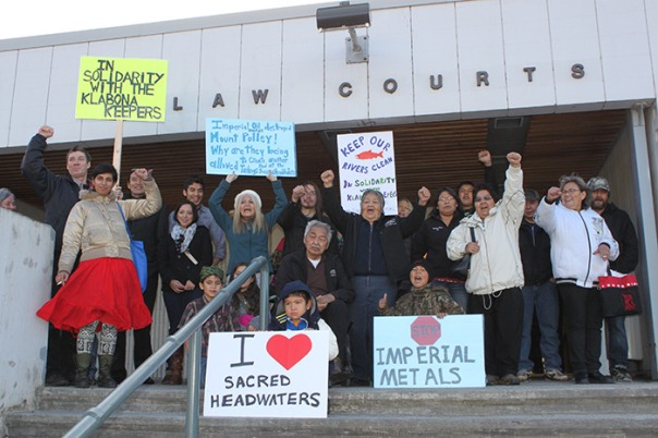 The Klabona Keepers and their supporters gather outside the Terrace courts Nov. 26, 2014, photo by Josh Massey.