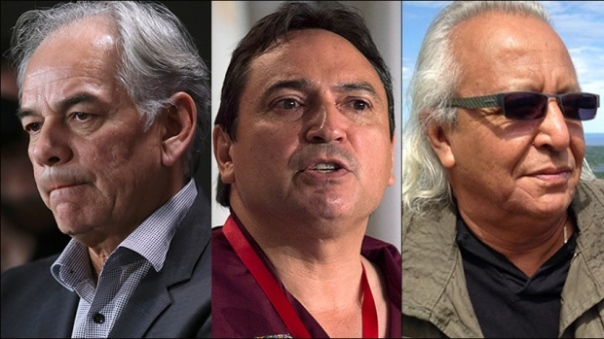 Ghislain Picard, Perry Bellegarde and Leon Jourdaine are vying for the job of national chief at the Assembly of First Nations. Voting takes place in Winnipeg on Dec. 10. (Chris Wattie/Reuters, Andrew Vaughan/Canadian Press, Facebook)
