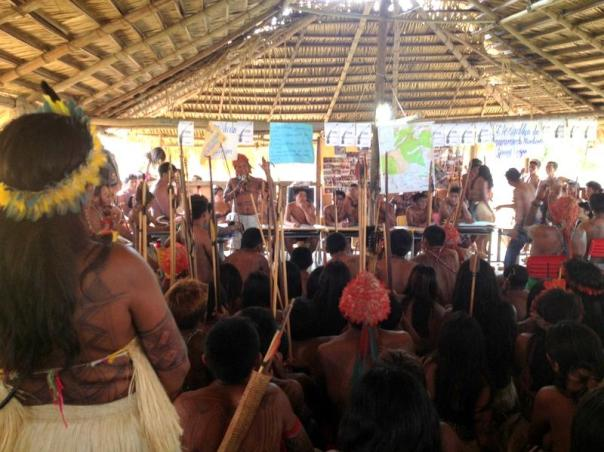 Meeting of Native peoples of the Amazon region opposed to massive dam projects proposed for their territories, Sept 2014.