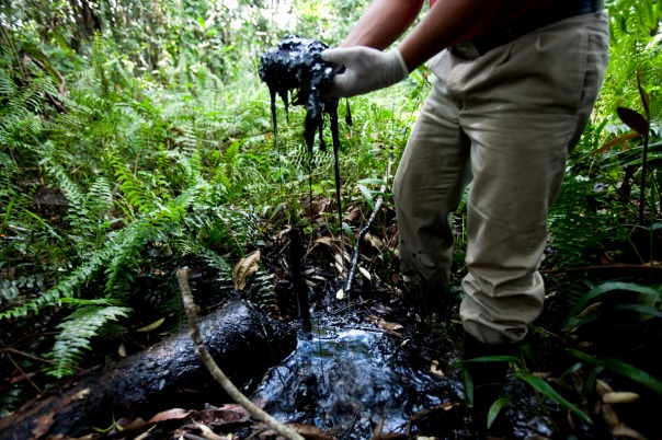 Oil spilled from Chevron facility in Ecuador.