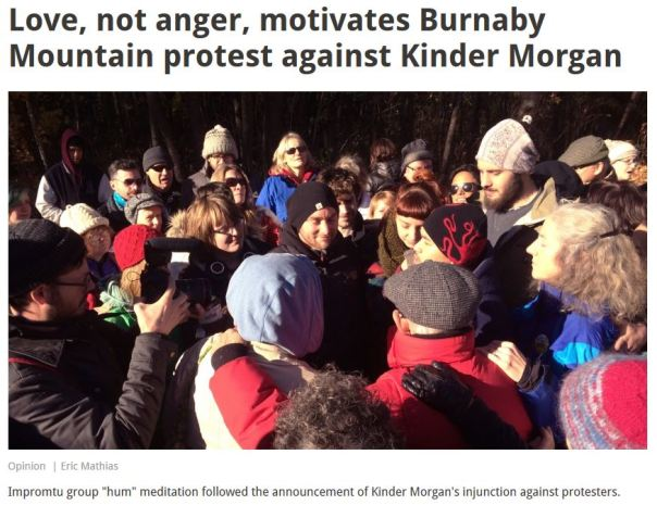 Pacifists and New Age spiritualists hold a group hug against Kinder Morgan... it didn't work.