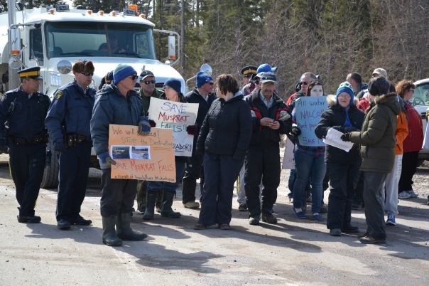 About a dozen NunatuKavut members staged a protest on the Trans-Labrador Highway on April 5. — Telegram file photo.