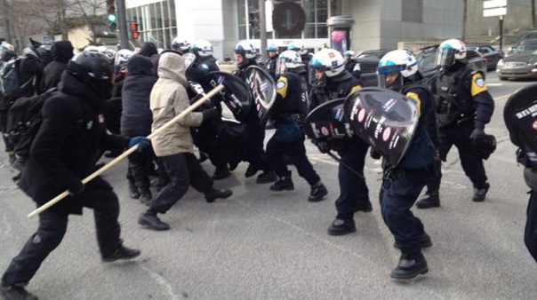 Montreal riot cops attacked the protest against Plan Nord, Dec 8, 2014.