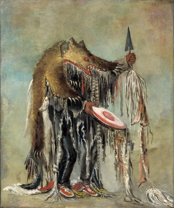 BLACKFOOT MEDICINE MAN. Blackfoot Medicine Man Performing His Mysteries over a Dying Man. Oil on canvas, 1832, by George Catlin.