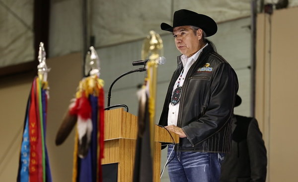 Tex G. Hall at the Annual Bakken Oil and Gas Expo in April. He proudly advocated oil development on tribal land. Credit Brent McDonald/The New York Times