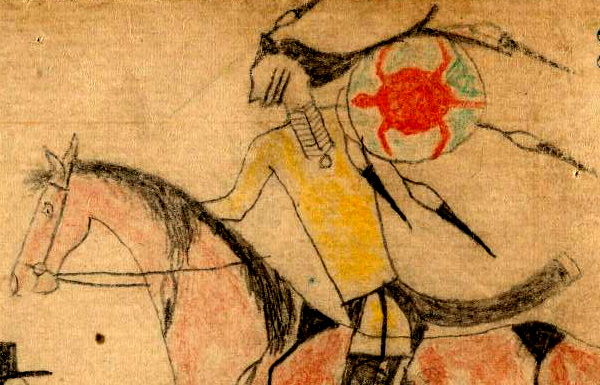 Detail of ledger drawing believed to be a self-portrait by Crazy Horse.