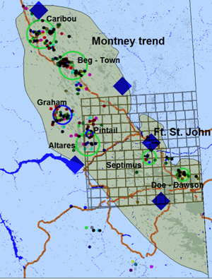 Green circles indicate areas with hydraulic fracturing induced seismic events. Credit: BC Oil and Gas Commission.  Graphic: The Tyee.