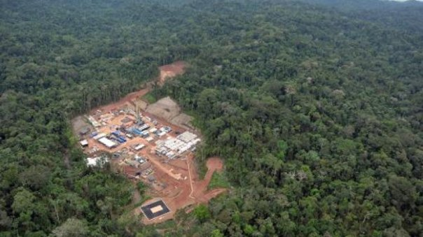 An aerial view of a gas exploration camp, run by Argentine company Pluspetrol, in the Amazon jungle near Cuzco, 470 kilometers east of Lima, on May 18, 2011.