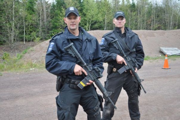RCMP officers training with the C8 patrol carbine in Nova Scotia.