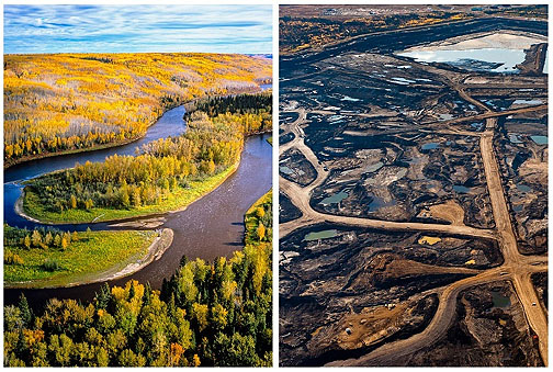 Tar Sands landscape in northern Alberta, before and after.