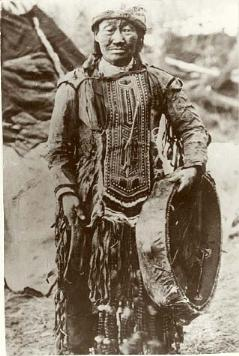 Yakut shaman with a drum, early 1900s.  Illinois State Museum.