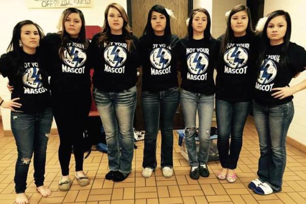 Tiospa Zina Tribal School students wearing 'Not Your Mascot' t-shirts. Photo courtesy Tee Drappeau.