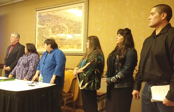Members of Klamath Tribal council and Klamath Tribes negotiation team at the latest community meeting in Portland, OR 2/9/15. In order from left to right: chairman Don Gentry, Kathy Hill, Vivian Kimbol, Anna Bennett, Taylor Tupper [public information/news manager], and Shawn Jackson.