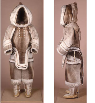 Inuit woman's caribou skin clothing, from Baffin Island, 1927.