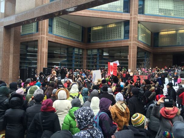Women's Memorial March in Toronto rallies outside police headquaters. Photo: Ange Sterritt, Facebook.