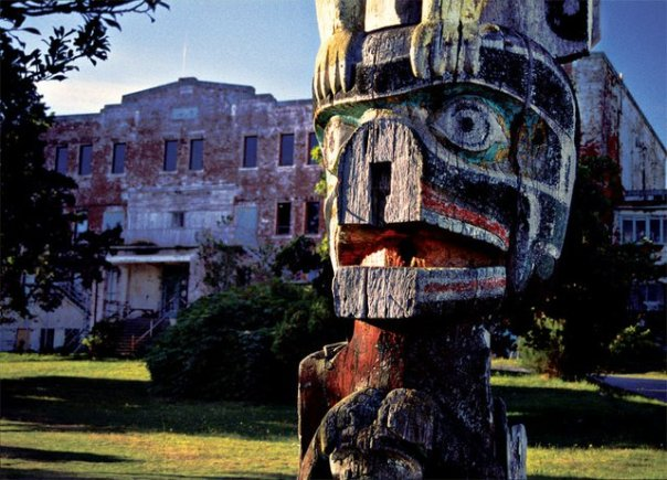 A decayed totem pole outside St Michael's Residential School.