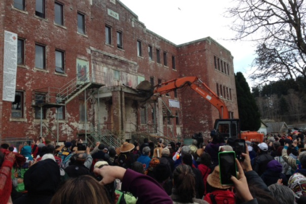 Demolition of St Michael's Residential School in Alert Bay, BC, begins on Feb 18, 2015.  It will take a month for the demolition to be completed.