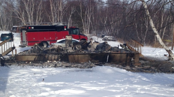 Aftermath of house fire on Saskatchewan reserve, Feb 2015.