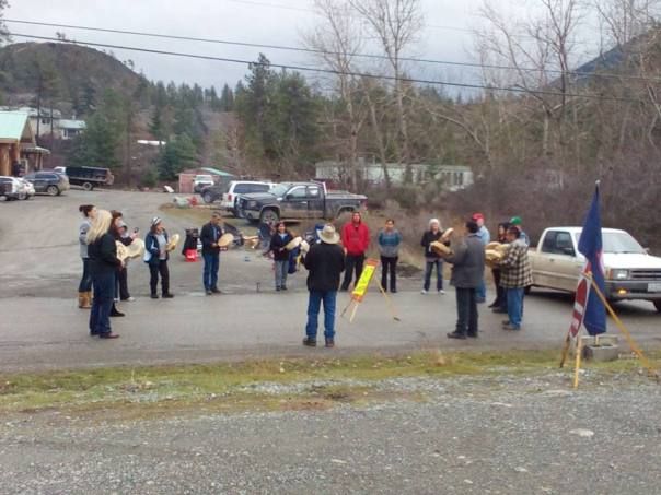 St'at'imc rally in Lillooet, BC, as part of #Shutdown Canada actions on Feb 13, 2015.