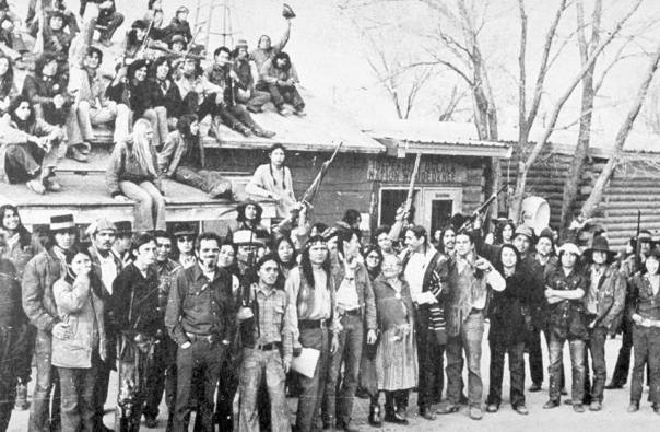 Some participants in the resistance at Wounded Knee, South Dakota, 1973.