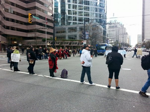 Blocking the streets outside the Vancouver DFO offices, March 30, 2015.