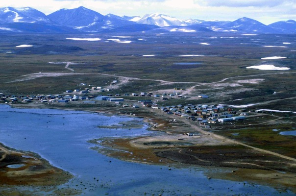 Aerial view of Clyde River, Nunavut.