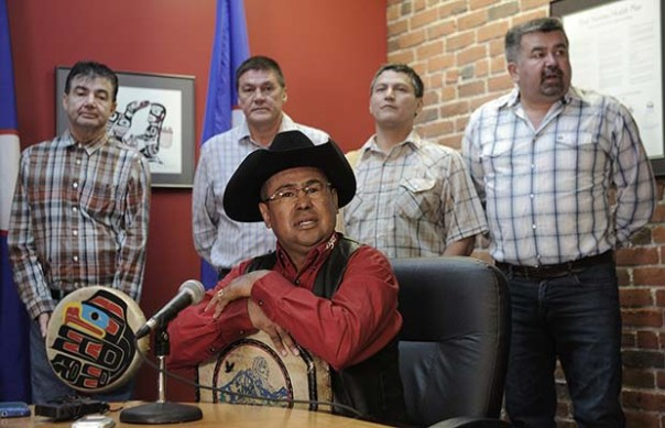 Chief Roger William of Xeni Gwet'in speaks at a news conference where UBCIC chiefs react to a Supreme Court Decision on the aboriginal title appeal, in Vancouver June 26, 2014. Photograph by: Nick Procaylo , PNG.