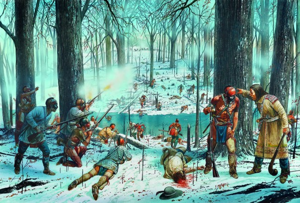 "The Miami Confederacy ambushed Gen. Arthur St. Clair's force in the worst defeat of an army by indigenous forces in American history. Art by Peter Dennis from Osprey's ""Wabash 1791: St Clair's Defeat."""