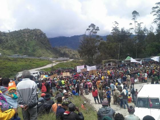 October 28, 2014, protest against Barrick Gold's Porgera mine site.