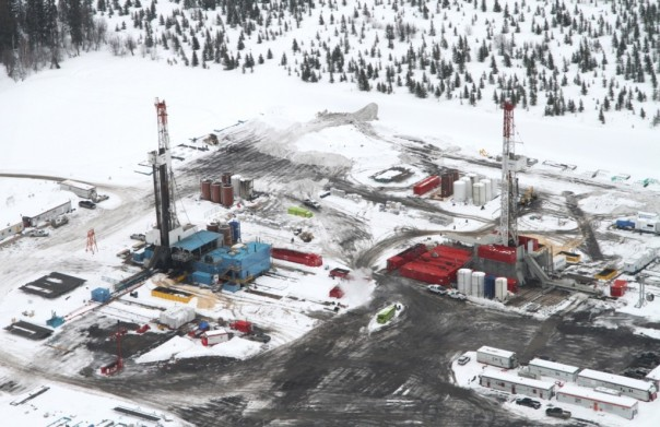 A fracking drill in BC's Horn River Basin (Two Island Films).