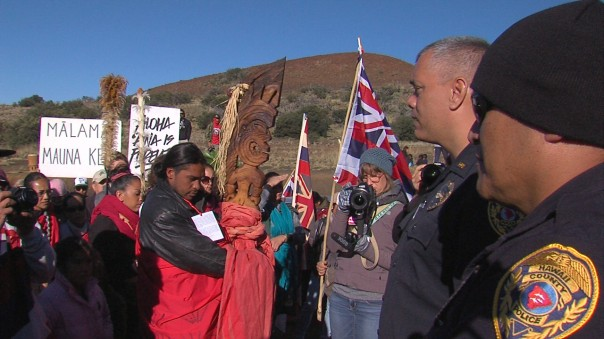 Indigenous Hawaiians protest against construction of the Thirty Metre Telescope, March 2015.