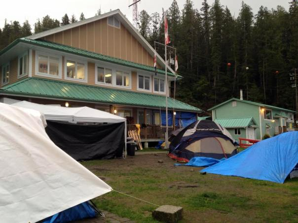 The scene outside the DFO office on Denny Island, March 31, 2015, the third day the Heiltsuk occupied it.