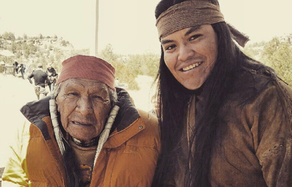 Actors Saginaw Grant and Loren Anthony on the set of 'Ridiculous Six.' Image source: instagram.com/lorenanthony