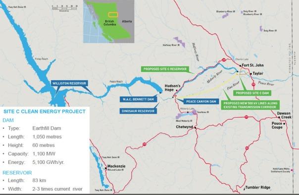 Site C dam map
