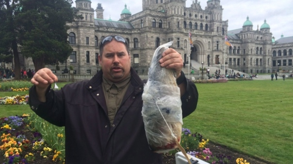 West Moberly First Nation Chief Roland Willson holds a frozen bull trout that he says is contaminated with mercury, in front of the Legislature in Victoria on Monday. (Dirk Meissner/The Canadian Press)