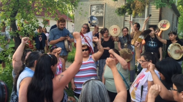 Drumming and singing in search for missing woman, Winnipeg, May 2015.