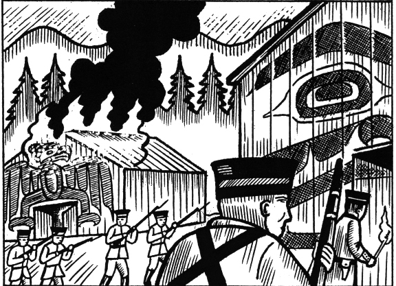 Marines from the Royal Navy destroying a Kwakwaka'wakw village in 1850, from The 500 Years of Resistance Comic Book, by Gord Hill.