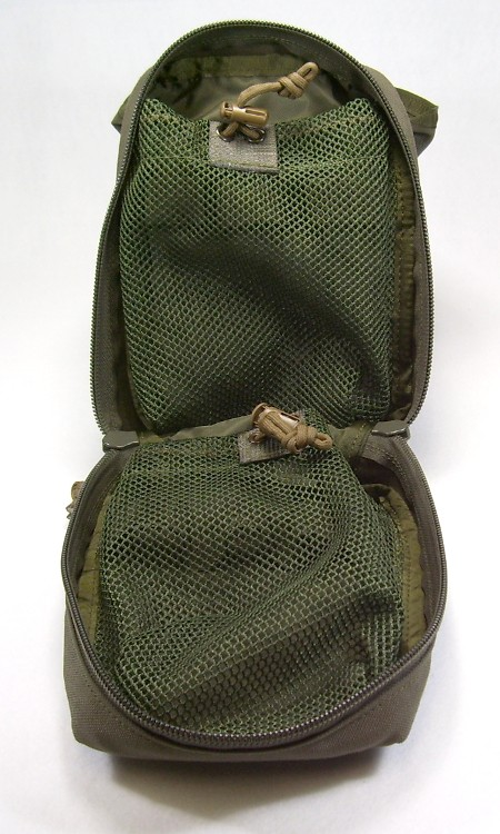 Tactical Tailor medic pouch, opened.  The contents are placed inside the zippered mesh pockets.