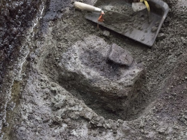 A section of soil where the impressions of human footprints buried at a shoreline archaeological site were discovered by researchers on Calvert Island, British Columbia, Canada. Charcoal found with the prints has been radiocarbon dated to 13,200 years before present, making them likely candidates for the oldest footprints ever found. THE CANADIAN PRESS/HO - Joanne McSporran