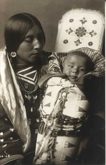 Crow woman with her newborn baby.  Photo by Edward Curtis c1908.